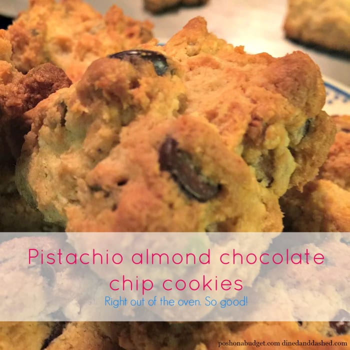 Pistachio almond chocolate chip cookies right out of the ...