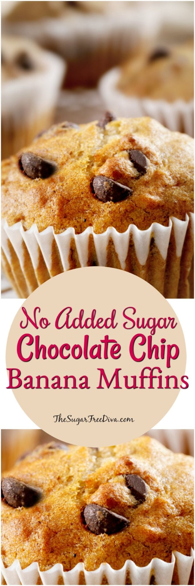 No Sugar Added Chocolate Chip Banana Muffins