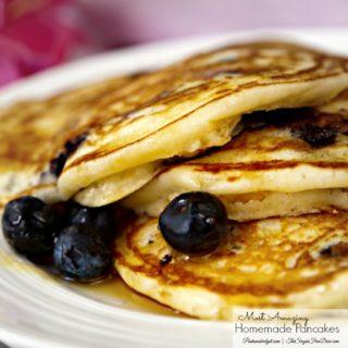 EASY Homemade Blueberry Pancakes