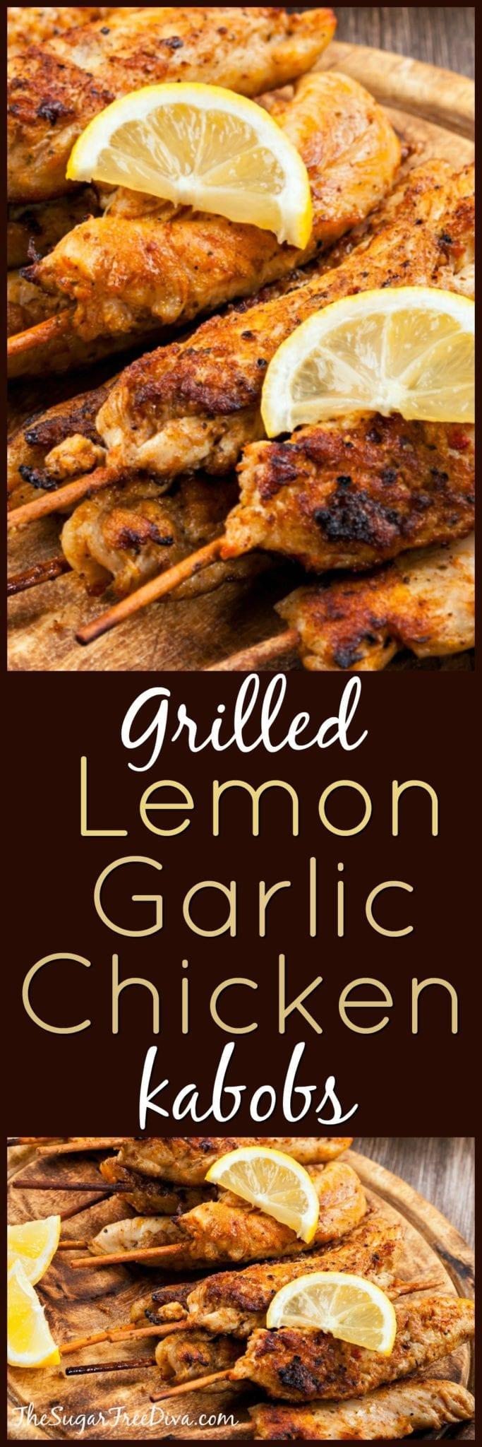 Grilled Lemon Garlic Chicken Kabobs #chicken #recipe #easy #grilled