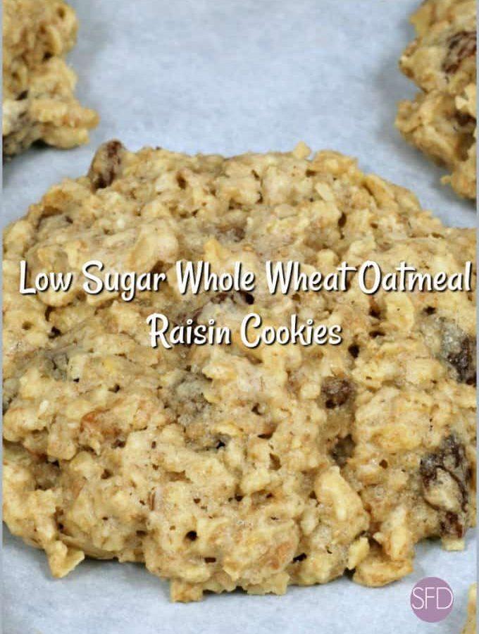 Low Sugar Whole Wheat Oatmeal Raisin Cookies