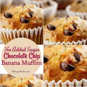 No Sugar Added Chocolate Chip Banana Muffins
