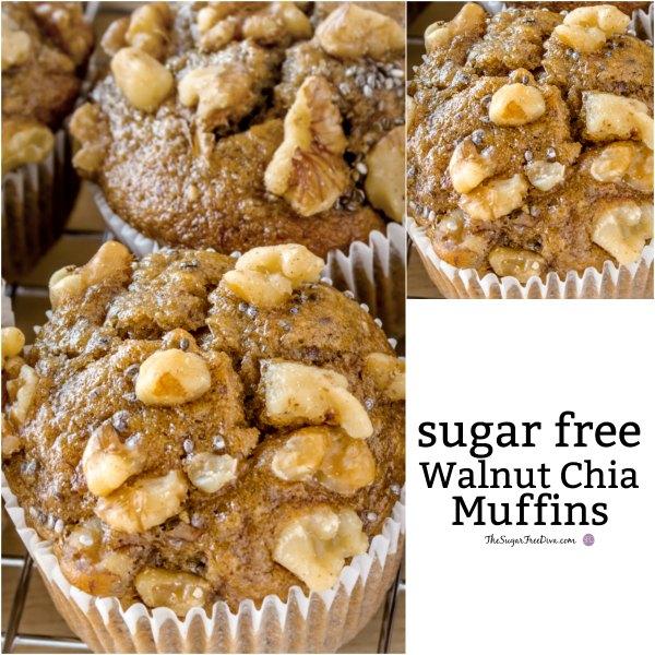 Sugar Free Walnut Chia Muffins