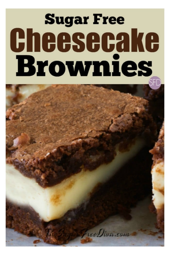 Sugar Free Cheesecake Brownies #sugarfree #brownies #recipe #dessert