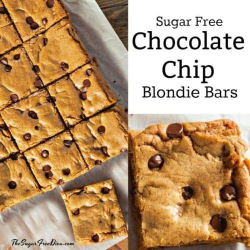 Sugar Free Chocolate Chip Blondie Bars