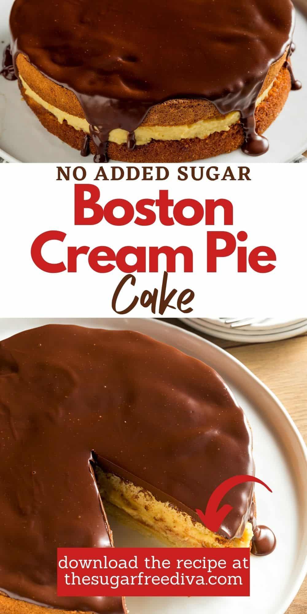 Sugar Free Boston Cream Pie Cake