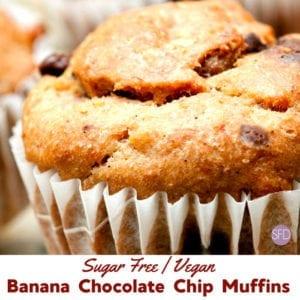 Sugar Free Banana Chocolate Chip Muffins Vegan