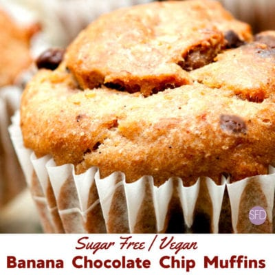 Sugar Free Banana Chocolate Chip Muffins Vegan