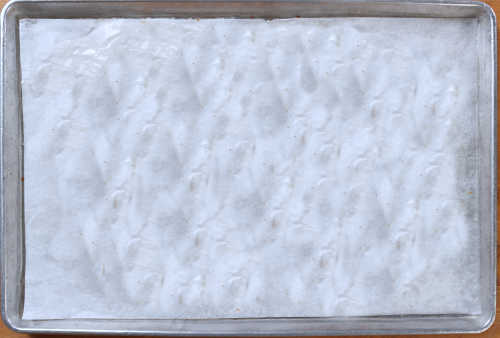 parchment lined cookie sheet