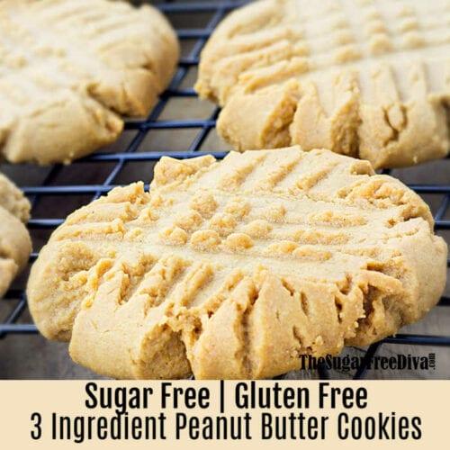 3 Ingredient Sugar Free Peanut Butter Cookies