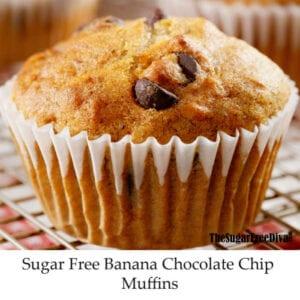Sugar Free Banana Chocolate Chip Muffins