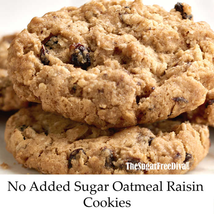 No sugar added oatmeal and raisin cookies