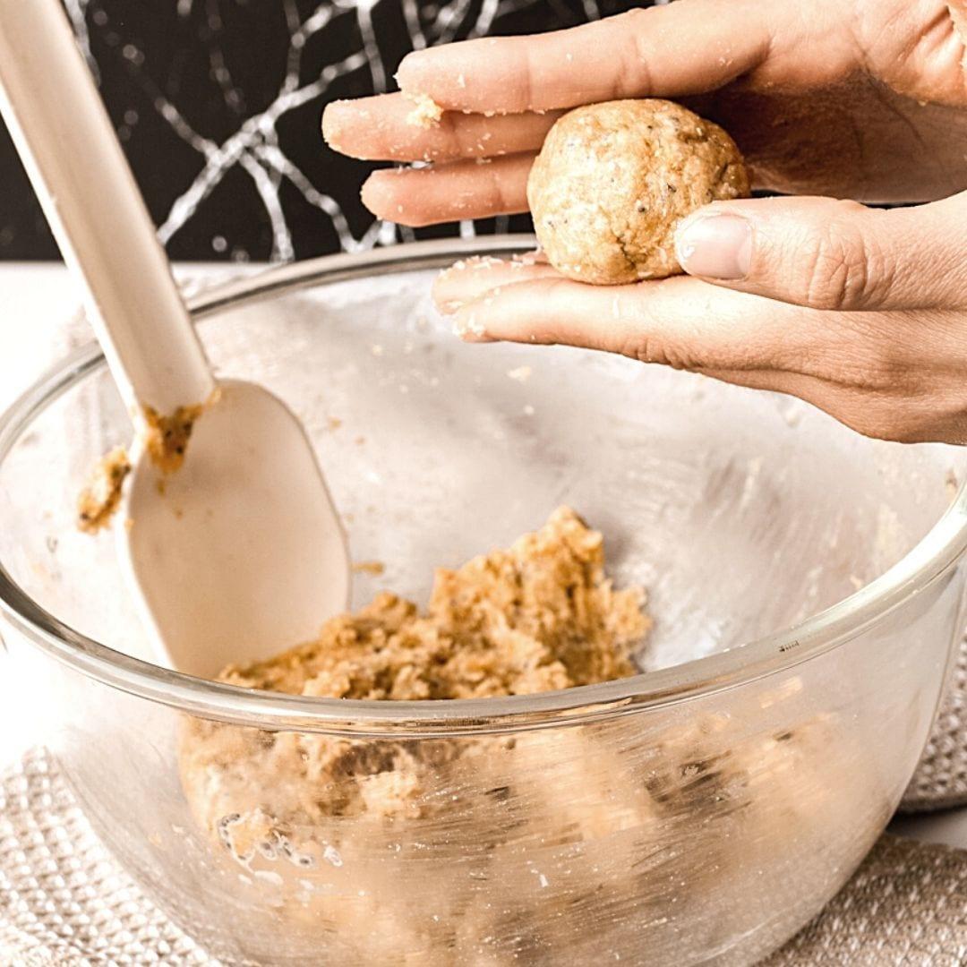 roll peanut butter balls