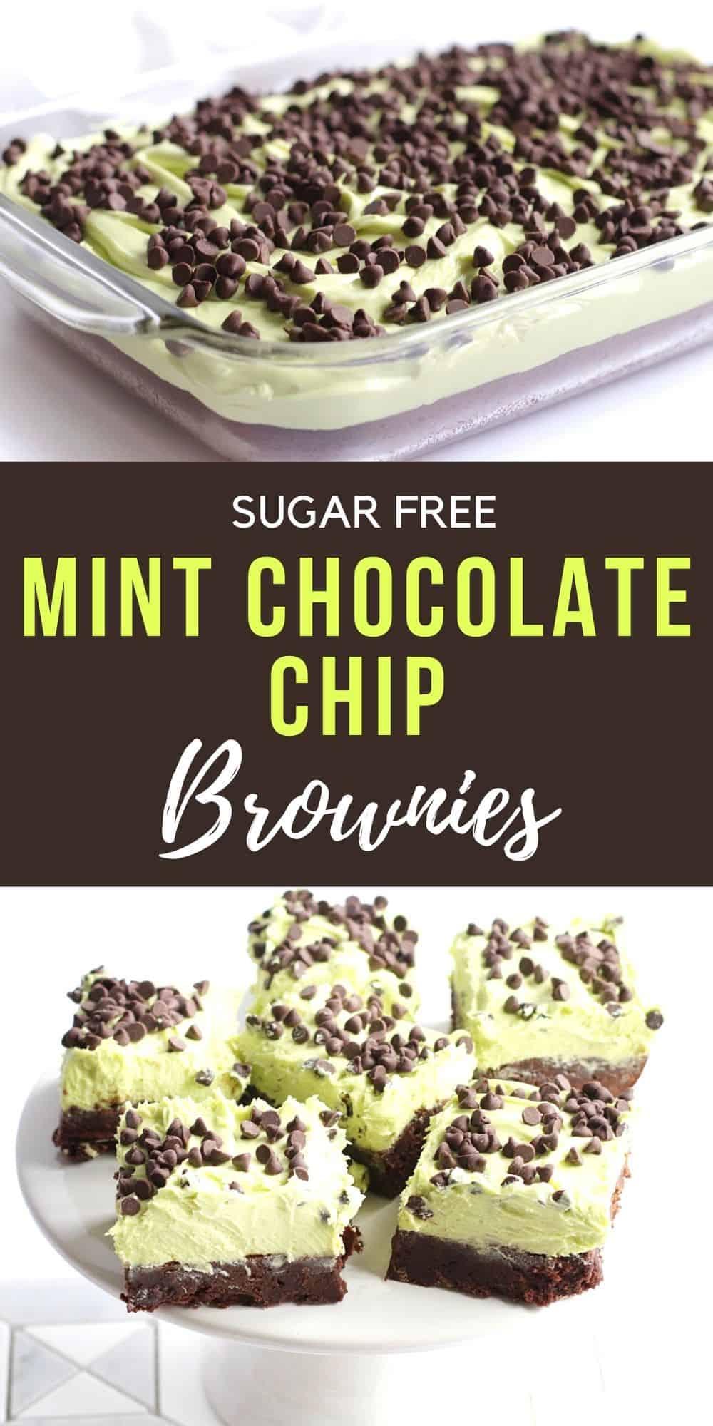 Sugar Free Mint Chocolate Chip Brownies