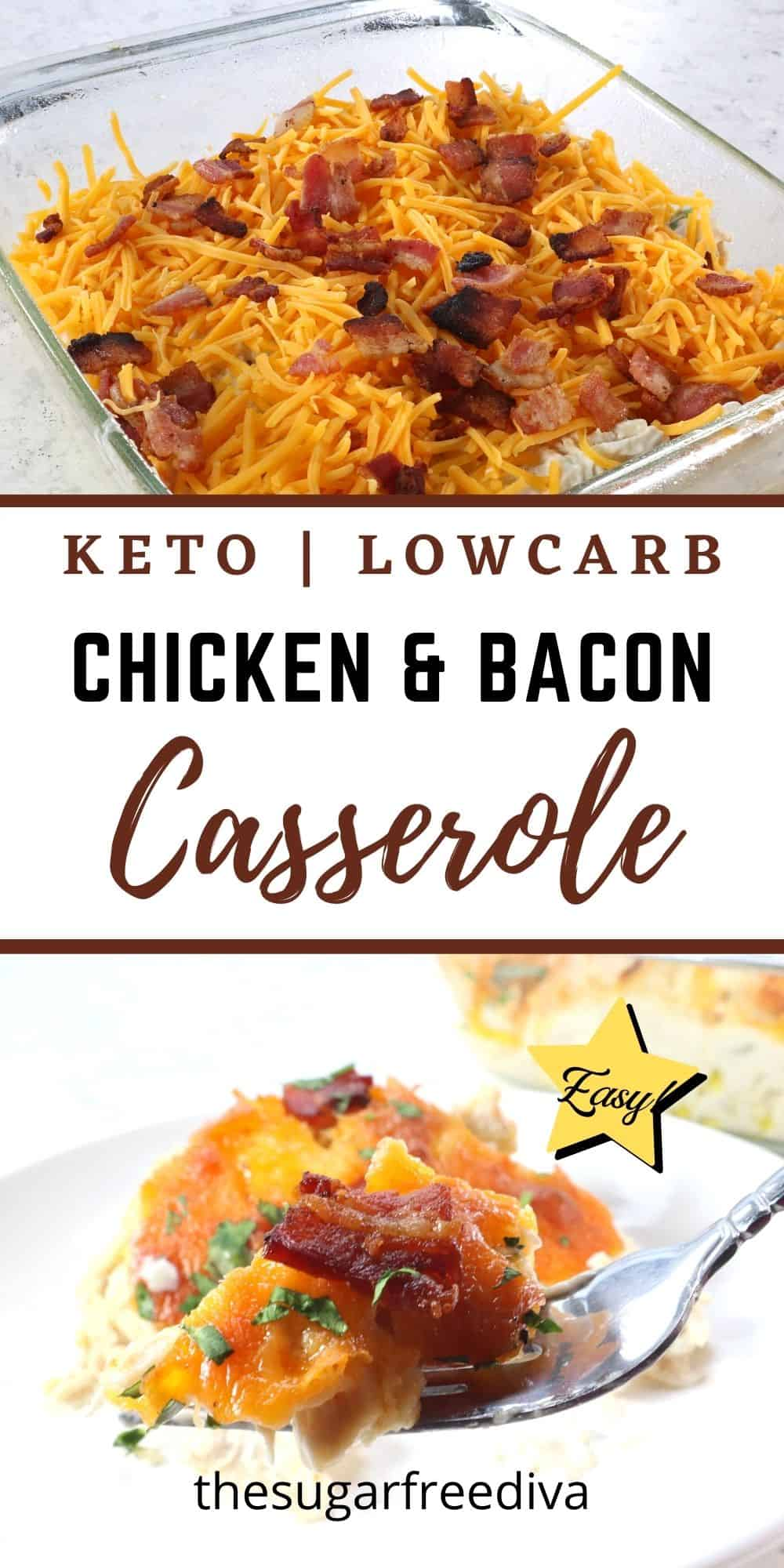 Keto Low Carb Chicken and Bacon Casserole