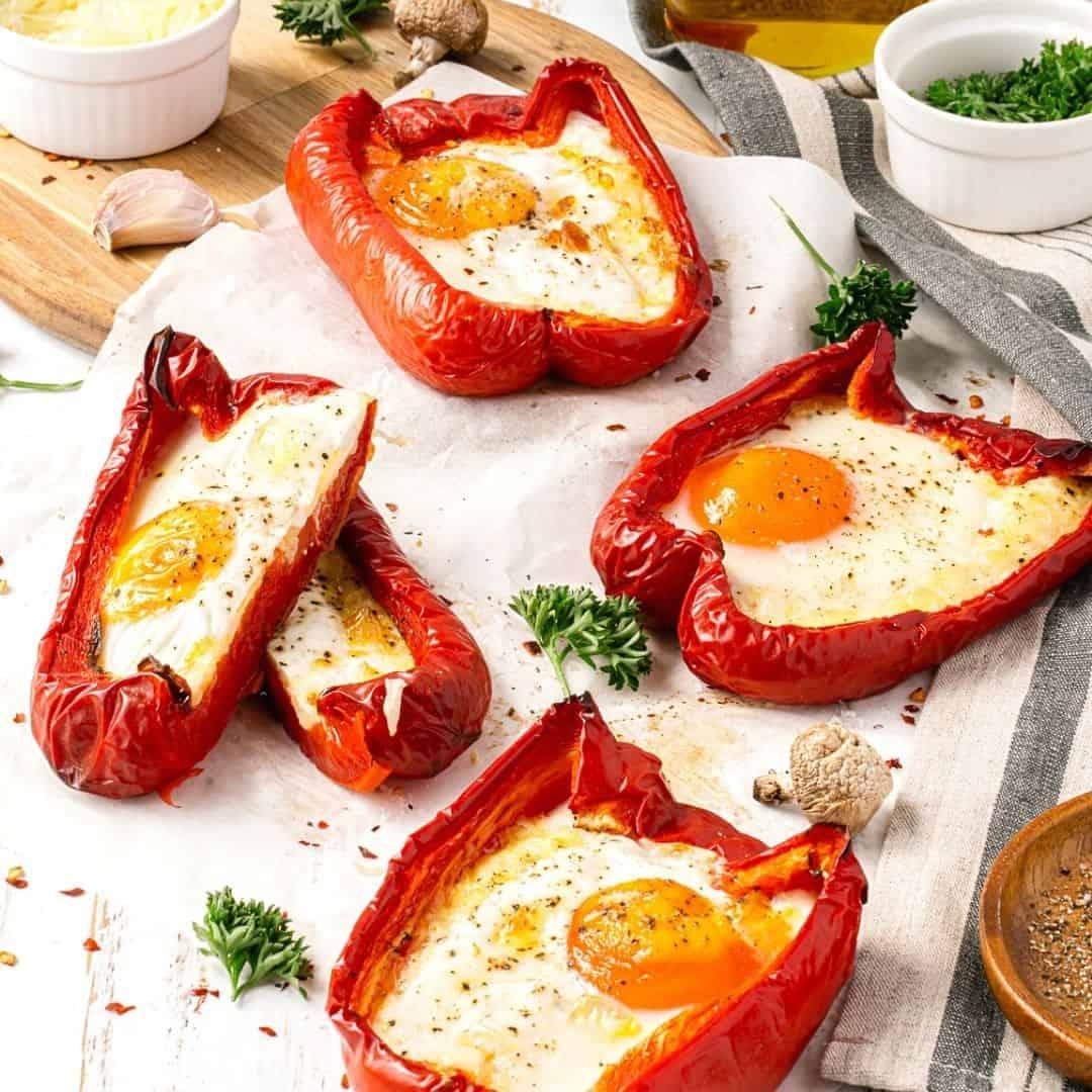 Keto Baked Egg Stuffed Peppers