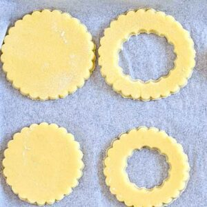 cut out cookies on sheet