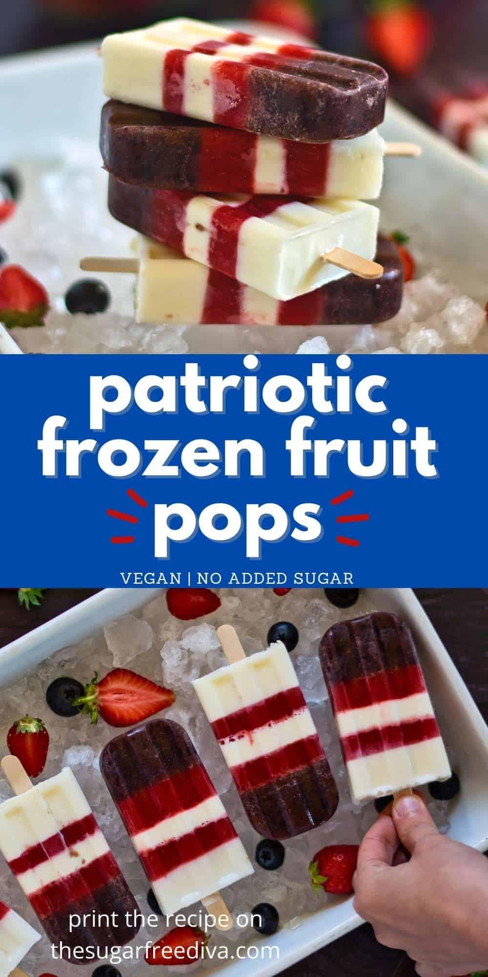 Sugar Free Patriotic Fruit Popsicles