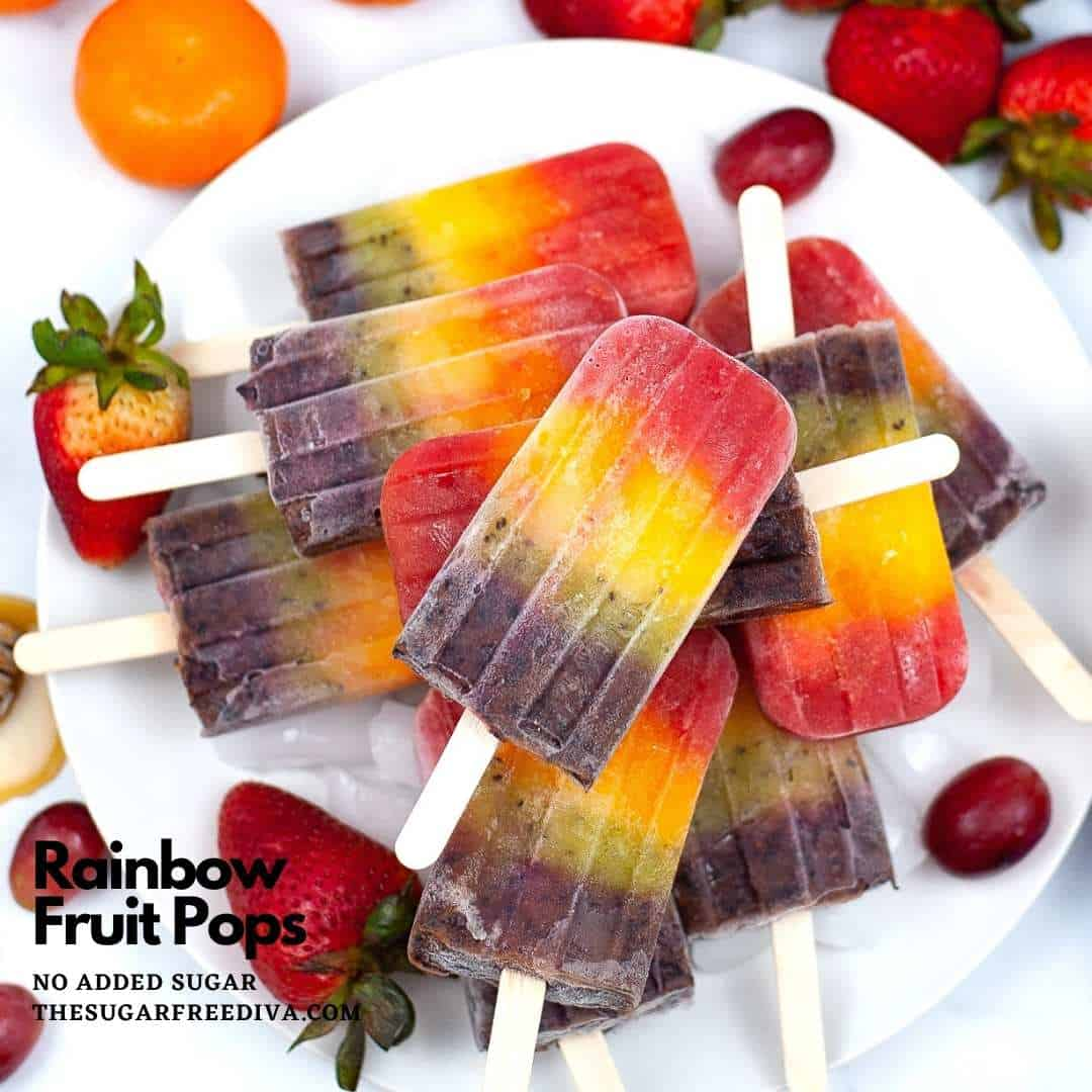 Sugar Free Rainbow Fruit Popsicles